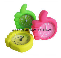 Unbreakable Creative Finger Shape Home Deco Mute Silicone Mini Table Alarm Clock pictures & photos