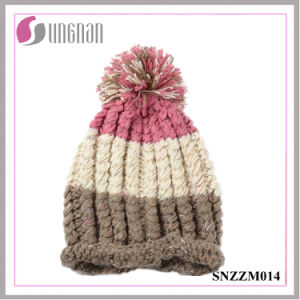 Warm Sweet Girls Thickening Multicolor Wool Ball Knitting Hat (SNZZM014) pictures & photos