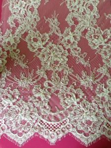 French Embroidery Cotton Lace Fabric for Evening Gown, Wedding Dress