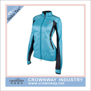 Sport Wholesale Knitted Jogging Jacket with Hoody for Womens pictures & photos