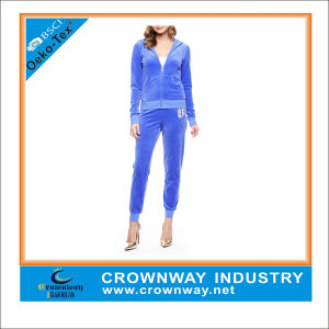 Custom Ladies Velour Tracksuit Made of Polyester/Cotton pictures & photos