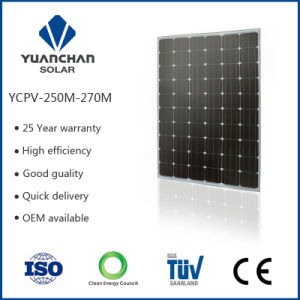 Yuanchan Factory of 250W Mono Solar Panel with High Quality and Low Price