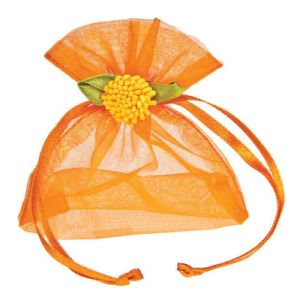 Customized Orange Wedding Packaging Organza Drawstring Bags (COB-1150) pictures & photos
