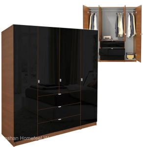 Modern Wooden 4 Doors Wardrobe Design (HF-EY08313) pictures & photos