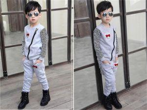 Boys′ Fashion Pure Cotton Leopard Leisure Sports Suit Kd2329 pictures & photos