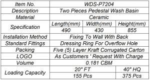 Weidansi Ceramic Wash Pedestal Basin Wash Sink (WDS-P7204) pictures & photos