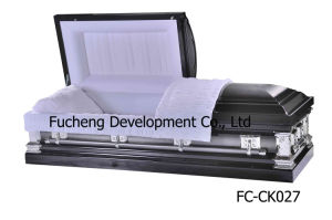 18ga American Style Steel Metal Funeral Caskets Coffin - Black Brushed Natural Finish & White Velvet Interiors (FC-CK027) pictures & photos