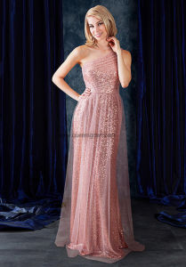 Pink One Shoulder Pleated Long Chiffon Bridesmaid Dress