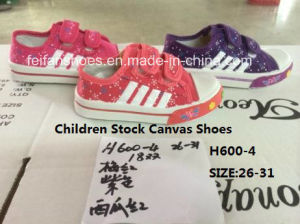 Children Cheap Stock Sports Shoes Injection Canvas Shoes (H600-4) pictures & photos
