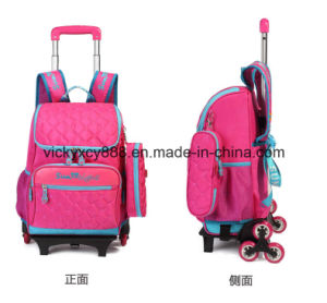 Removable Wheeled Trolley School Student Children Bag Backpack Schoolbag (CY3294) pictures & photos