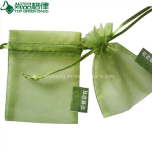 Wholesale Customized Organza Gift Pouch White Cheap Sheer Drawstring Bag pictures & photos