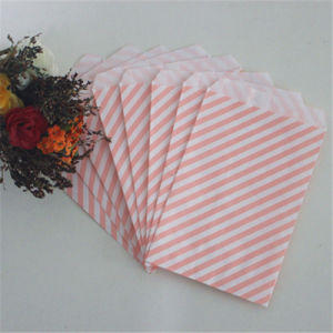 Pink Striped Color Paper Bags for Party Favors pictures & photos