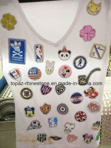 Heat Transfer Crystal Rhinestone Embroidered Patches (TM-Various design) pictures & photos