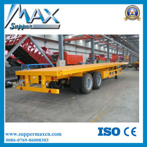 2 Axle Flatbed Semi Trailer with Bogie Suspension pictures & photos
