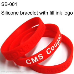 Customer Silicone Bracelet with Fill Ink Logo pictures & photos