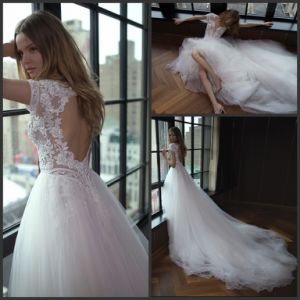Short Sleeves Bridal Gowns Tulle Beading Puffy Hollow Back Wedding Dress Gv1712 pictures & photos