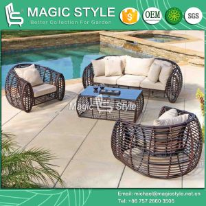 Round Wicker Patio Sofa Set Outdoor Sofa with Cushion (Magic Style) pictures & photos