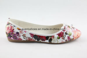 Round Toe Lady Shoes Ballerina with Flora Design pictures & photos