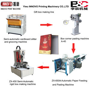 4 Machines Semi Automatic Carton Box Making Machine Line pictures & photos