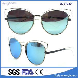 Women′s Metal Frame Copper Leg Cat Style Mirror Sunglasses pictures & photos