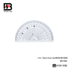 Black Standarded 4 In1 Plastic Ruler Office Stationery Set pictures & photos