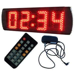 """5"""" 4 Digits Semi-Outdoor LED Digital Clock, Support Regular Clock Function and Countdown/up Function, Red Color"""
