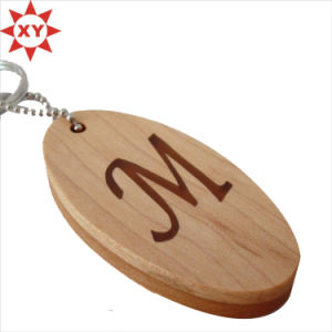 Oval Shape Wood Strap Engrave Logo with Ring pictures & photos