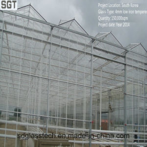 4mm Low Iron Toughened Extra Clear Glass for Greenhouse pictures & photos