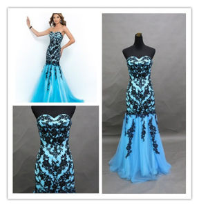 2015 Sexy Dress Grace Blue Mermaid Air Lace Evening Dress pictures & photos