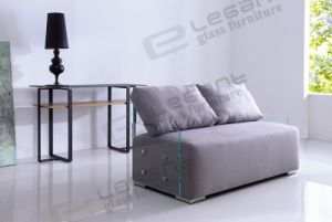 Tempered Glass Sofa with Grey Fabric Seat pictures & photos