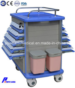 Hospital Furniture ABS Double Side Medicine Drug Trolley pictures & photos