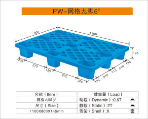 1100mm*800mm*145mm Plastic Pallet in Blue Color Hot Seach