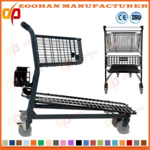 Stylish Compact Metal Supermarket Handling Shopping Basket Trolley Cart (Zht198) pictures & photos