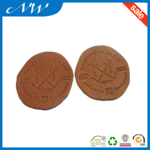 Brown Colored Oval Die Cut Unique Round Baby Garment Leather Patch