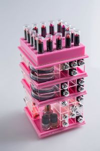 Transparent Pink Color Revolving 78 Compartment Acrylic Lipstick Holder Display pictures & photos