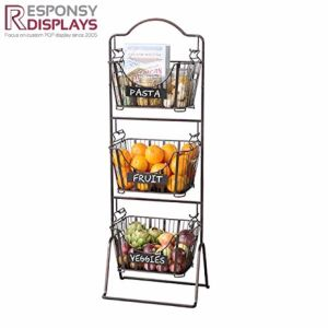 Floor Standing Removable Fruit Display Stand Wire Metal Basket pictures & photos