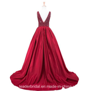 V-Neck Prom Party Gowns A-Line Crystals Green Red Evening Formal Dresses Z5024 pictures & photos