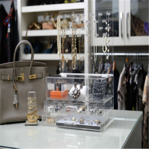 Modern Stylish Clear Acrylic Jewelry Organizer with Makeup Drawer pictures & photos