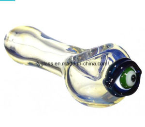 4.5 Evil Eye Protector Glass Hand Pipe with Golden Fumed pictures & photos
