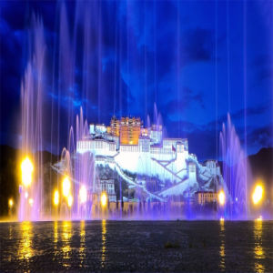 Music Dancing Fountain with Super High Jet Waterfall Marble Statue Fountain