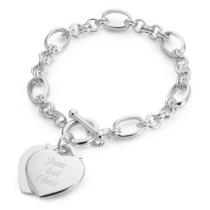 Classic Double Heart Toggle Bracelet