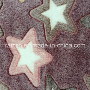 Caulking Coral Fleece Embossed Star Customized Embossed Fleece Fabric pictures & photos