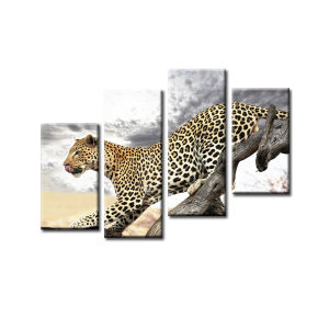 Leopard and Tree Animal Canvas Print Wall Painting for Home Decoration