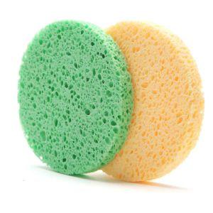 Hot Sale Cheap Round Shape Latex Free Makeup Remove Wood Pulp Sponge pictures & photos