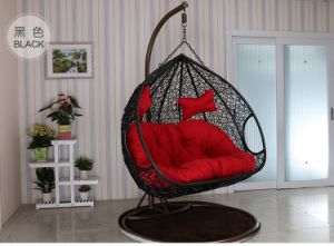 2017 New Bedroom Rattan Wicker Cane Hanging Egg Swing Chair with Stand with Double Seat pictures & photos