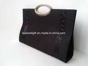 Black Felt Women Uncommon Handmade Bag Small Black Wallet Magnetic Fastener pictures & photos