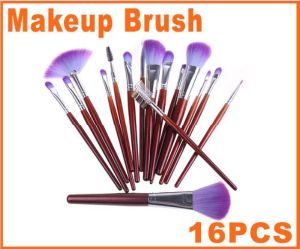 16 PCS Professional Makeup Brush Sets Cosmetic Brushes Kit + Purple Leather Case pictures & photos
