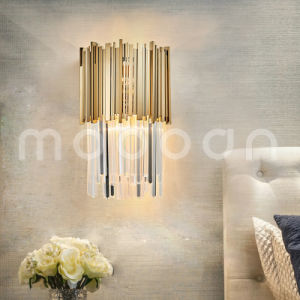 Modern Simple Golden Stainless Steel Crystal Wall Lamp for Living Room