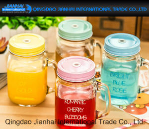 350ml Square Water Bottle Mason Jar with Handle and Straw pictures & photos