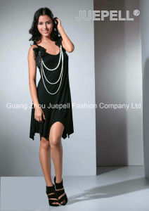 Ladies Knited Flowers and Pearls Accessory Asymmetric Dress pictures & photos